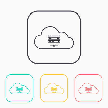 webhosting: Icon of computer server, vector illustration