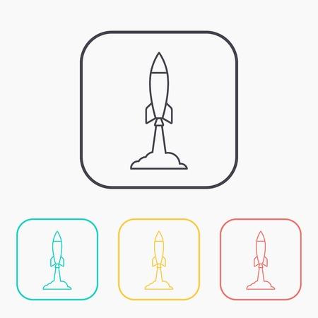 starting: Starting rocket icon, vector illustration