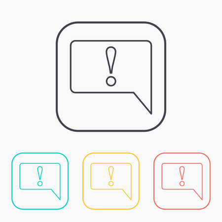 signo de admiracion: Icon of speech bubble with exclamation mark, vector illustration Vectores