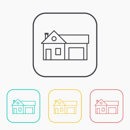 garage: Home and garage, vector illustration