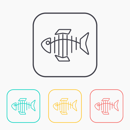 illustration of black fishbone: Vector icon of fishbone Illustration
