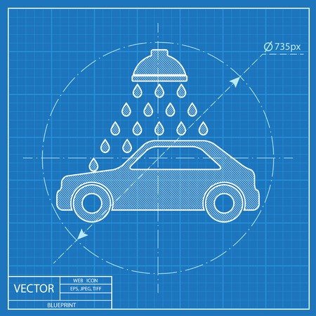 Vector icon of car wash blueprint style royalty free cliparts vector vector icon of car wash blueprint style malvernweather Image collections