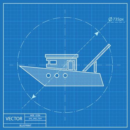 boat motor: Motor fishing boat sign, vector icon. Blueprint style Illustration