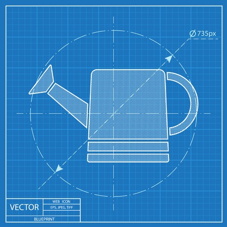 bailer: Watering can vector icon. Blueprint style