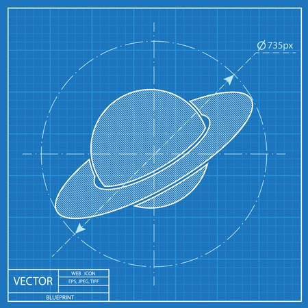saturn planet: saturn planet silhouette icon. Blueprint style