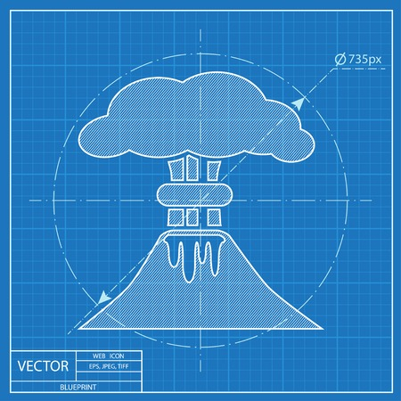 erupting: volcano mountain erupting icon. Blueprint style
