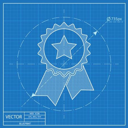Insignia de vector con el icono de cintas y estrellas sobre fondo foto de archivo insignia de vector con el icono de cintas y estrellas sobre fondo azul ilustracin vectorial malvernweather Image collections