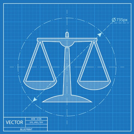 acquittal: White Justice scale icon on blue background
