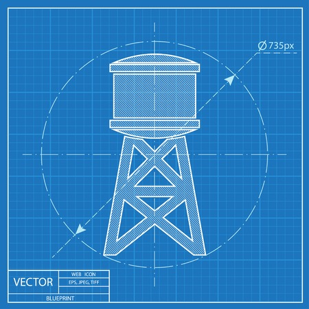 water tank: Industrial construction with water tank. Vector illustration Illustration