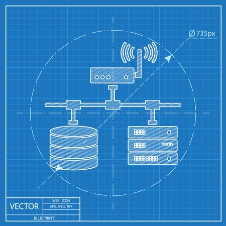 storage unit: flat computer network with database wi-fi and server