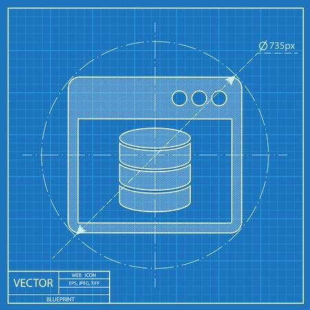 storage unit: database program window. Blueprint style Illustration
