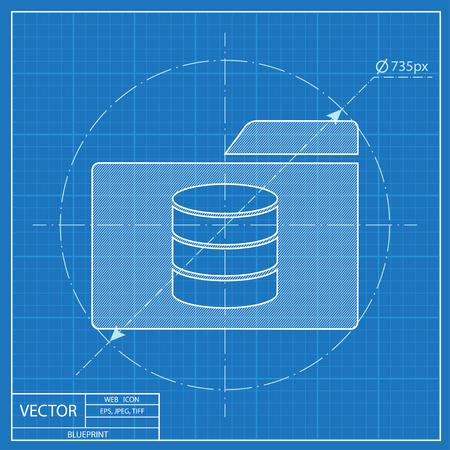 storage unit: database folder. Blueprint style