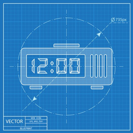 Digital alarm clock isometric 3d blueprint icon royalty free blueprint style vector malvernweather Image collections