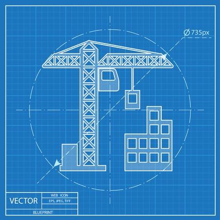 building construction: building construction icon. Blueprint style