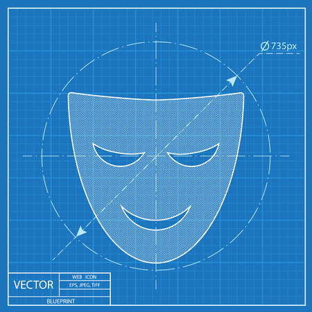theatre mask: theatre mask icon. Blueprint style