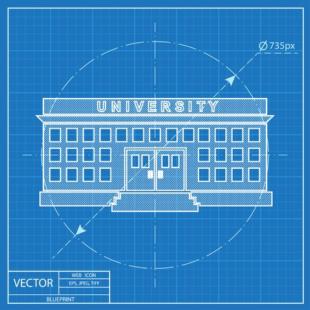 post secondary schools: university building. Blueprint style