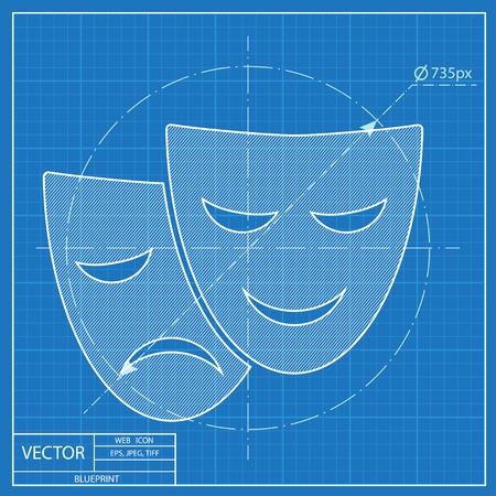 face mask: theatre masks icon. Blueprint style