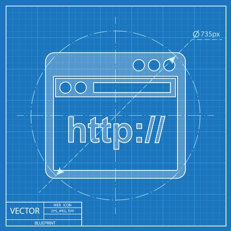 browser application window icon. Blueprint style