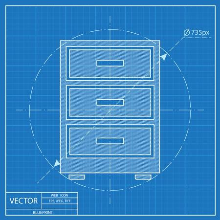 Cabinet icône. style Blueprint Vecteurs