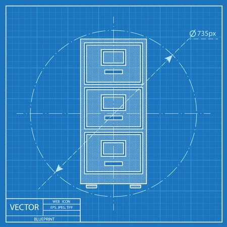 cabinet: cabinet icon. Blueprint style Illustration