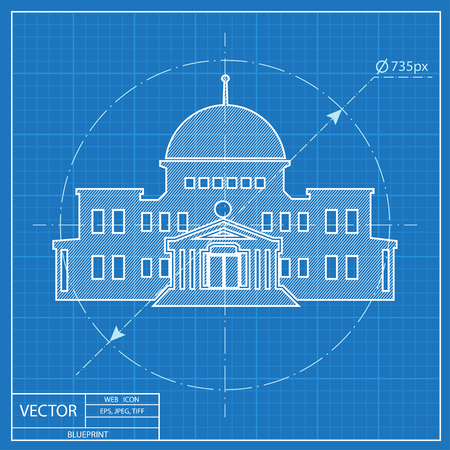 federal election: government building. Blueprint style