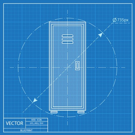storage: storage icon. Blueprint style Illustration