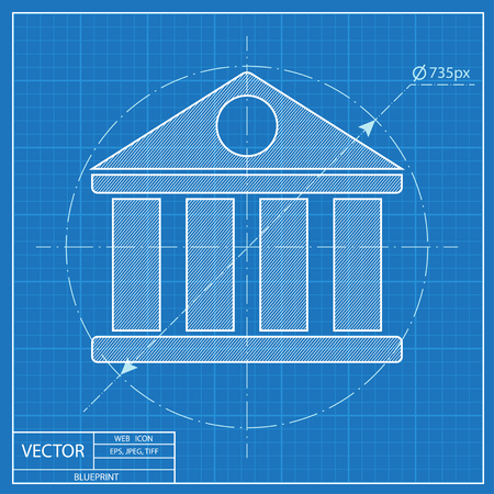 governmental: Blueprint icon of court building