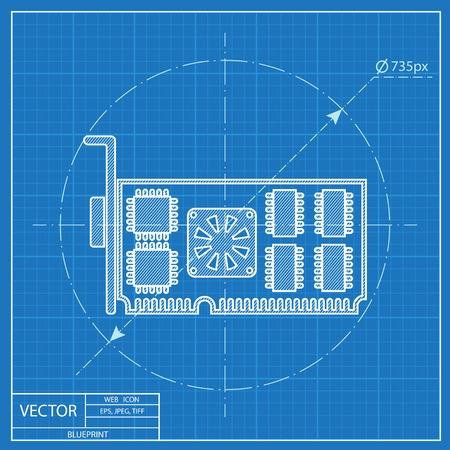 video card: Blueprint icon of computer video card
