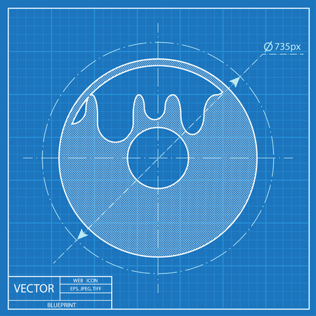 Blauwdruk icoon van donut Stockfoto - 55574194