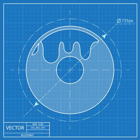 Blueprint icon of donut Reklamní fotografie - 55574194