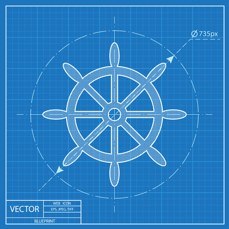 Blueprint icon of steering wheel
