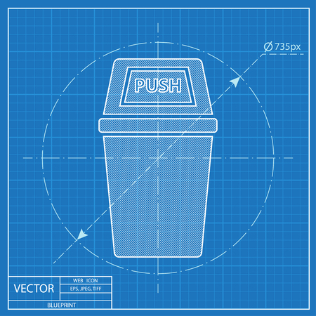 Trash bin isometric 3d blueprint icon royalty free cliparts vectors blueprint icon of trash can vector malvernweather Image collections