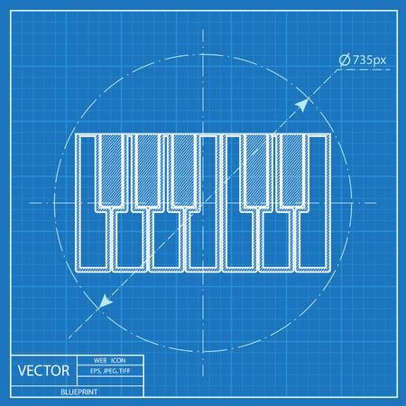 Blueprint icon of piano keys Reklamní fotografie - 55574255