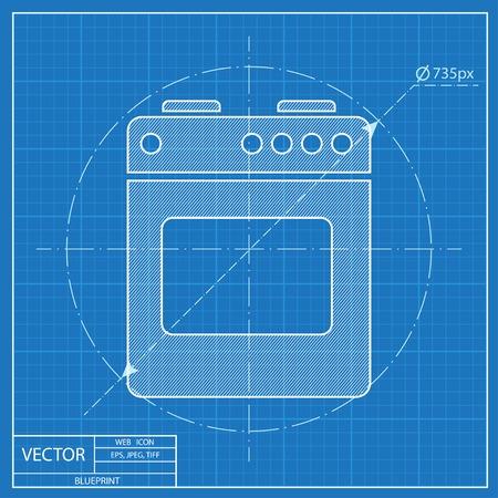 butane: Blueprint icon of gas stove Illustration