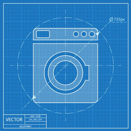 major household appliance: Blueprint icon of washing machine