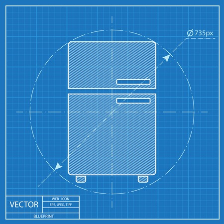 fridge: Blueprint icon of fridge Illustration