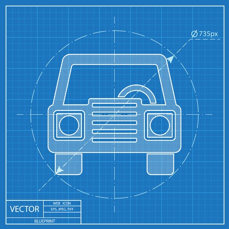 Blueprint icon of car front royalty free cliparts vectors and blueprint icon of car front vector malvernweather Images