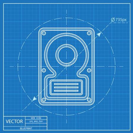 hard disk: blueprint icon of hard disk Illustration