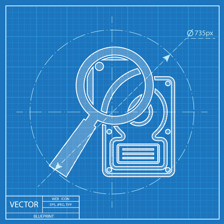 hard disk: blueprint icon of hard disk search