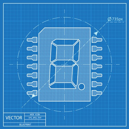 computer hardware: blueprint icon of digital microchip