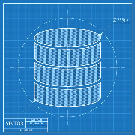 Database Folder. Blueprint Style Royalty Free Cliparts, Vectors, And ...
