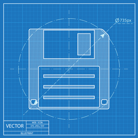 diskette: blueprint icon of hd diskette Illustration
