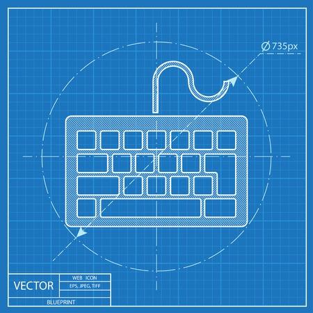 put the key: blueprint icon of keyboard Illustration