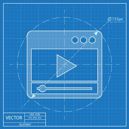 windows media video: blueprint icon of player window