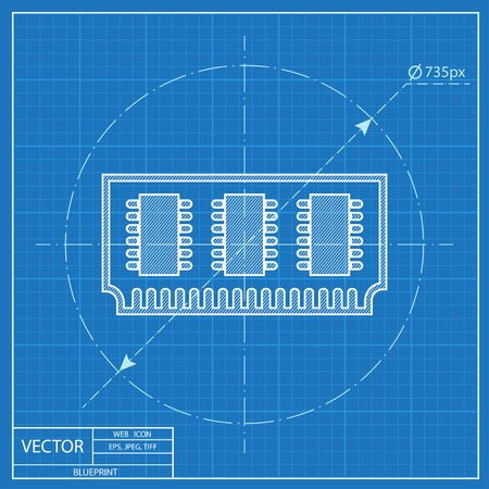 ddr: blueprint icon of memory chip