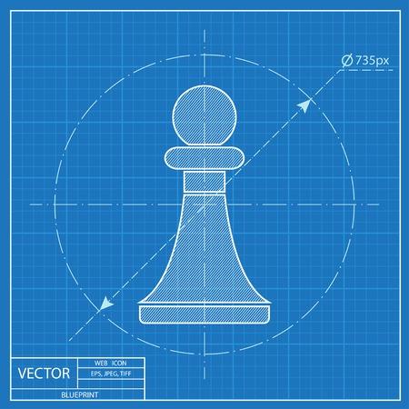 pawn: blueprint icon of chess pawn