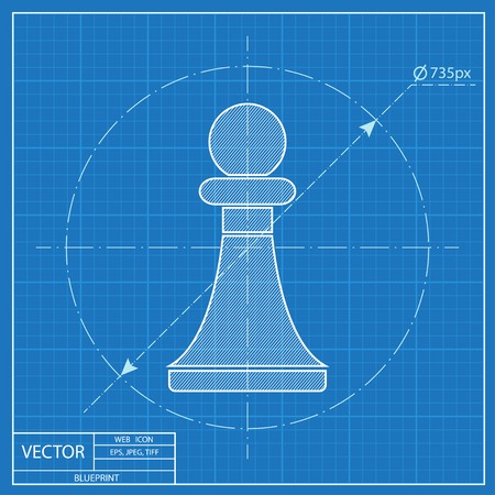 sport mats: blueprint icon of chess pawn