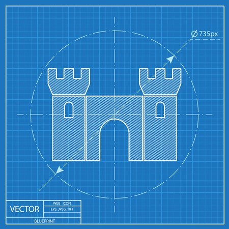 blueprint icon of castle