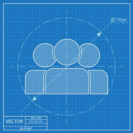 blueprint icon of team Vetores