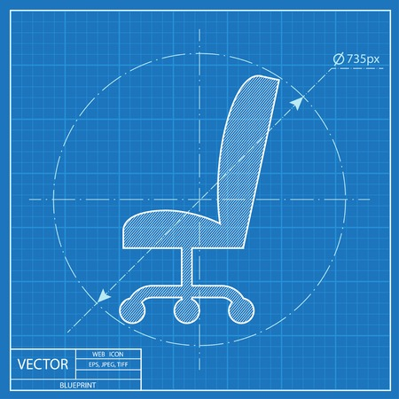 Blueprint Icon Of Office Chair Royalty Free Cliparts Vectors And